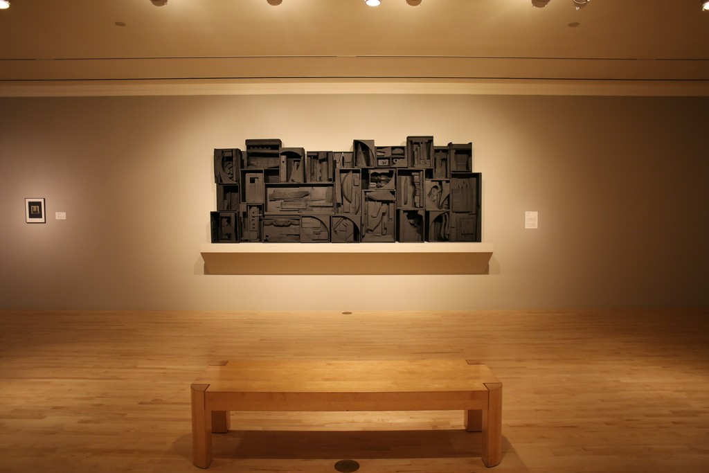 Installation shot of Louise Nevelson's Sky Cathedral (1957).