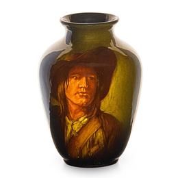 Early Standard Glaze portrait vase after Louis Gallait, Cincinnati, OH