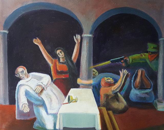 ", '""Asesinato del Obispo Romero 1983"",' 1993, GALERÍAS A. CRISTOBAL"