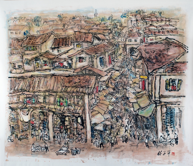 Lim Tze Peng, 'Bustling Streets of Chinatown,' 2013, Ode to Art