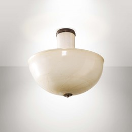 a gold-leafed milk glass ceiling lamp