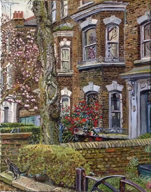 , 'Magnolias and camelias in an Islington street,' 2018, Robert Eagle Fine Art