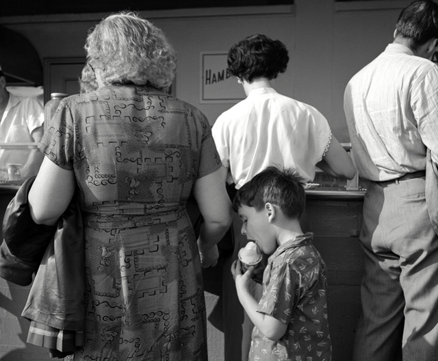 , 'Eating a Mel-o-Roll Ice Cream Cone, Coney Island Boardwalk,' 1951, Robert Mann Gallery