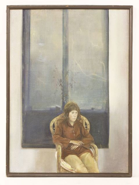 David Tindle, 'PORTRAIT OF JANICE, THREE-QUARTER LENGTH SEATED', Painting, Oil on canvas, Sworders