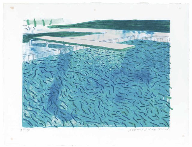 David Hockney, 'Lithograph of Water made of thick and thin lines, a green wash, a light blue wash, and a dark blue wash', 1980, Christie's