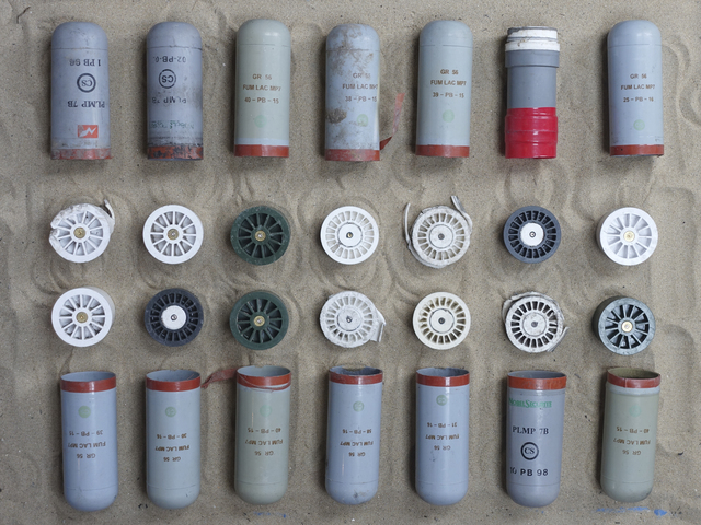 , '14 Teargas Canisters,' 2016, Axis Gallery