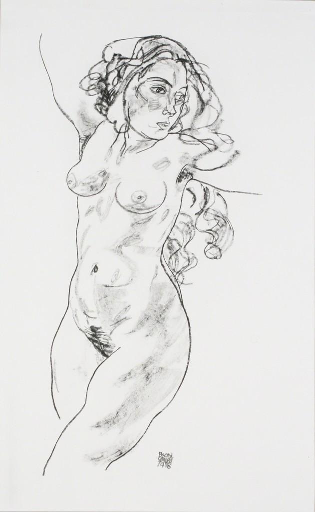 Egon Schiele, 'Standing Female Nude [Handzeichnungen],' 1920, Jason Jacques Gallery