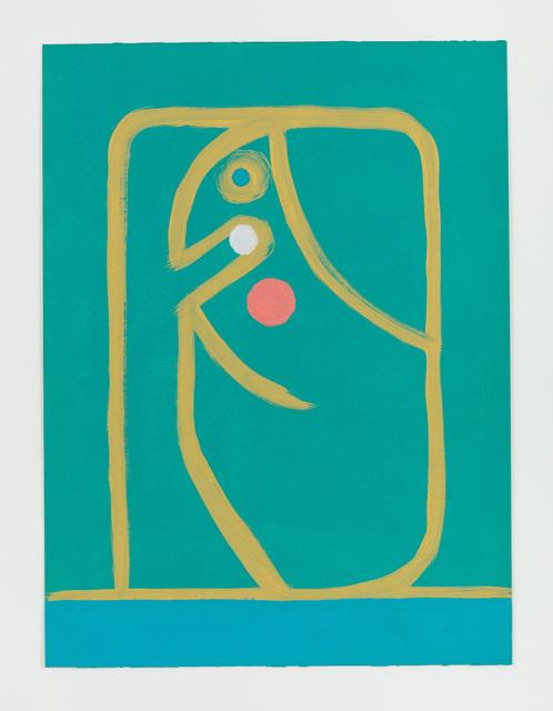 , 'Untitled (Gelber Linienkopf auf Grün),' 2015, Rachel Uffner Gallery