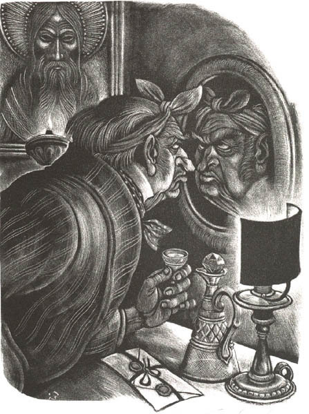 Fritz Eichenberg, 'Brothers Karamazov [The Man in the Mirror]', 1949, Print, Lithograph, Childs Gallery