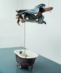 Robert Rauschenberg, 'Sor Aqua (Venetian)', 1973, Mixed Media, Water-filled bathtub, wood, metal, rope, and glass jug, Robert Rauschenberg Foundation