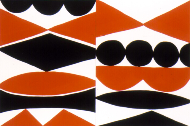 , 'Double Enamel Panel #2. (black, white, orange),' 2004, Rosamund Felsen Gallery