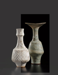 Vase with flaring lip and integral spiral