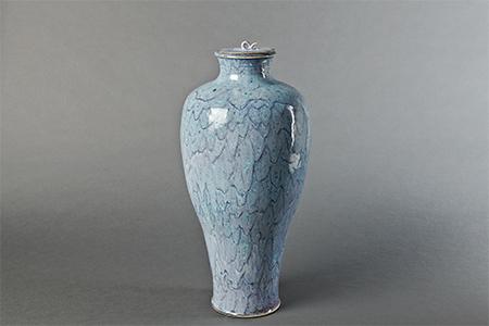 , 'Vase with lid, blue chrysanthemum glaze,' , Pucker Gallery