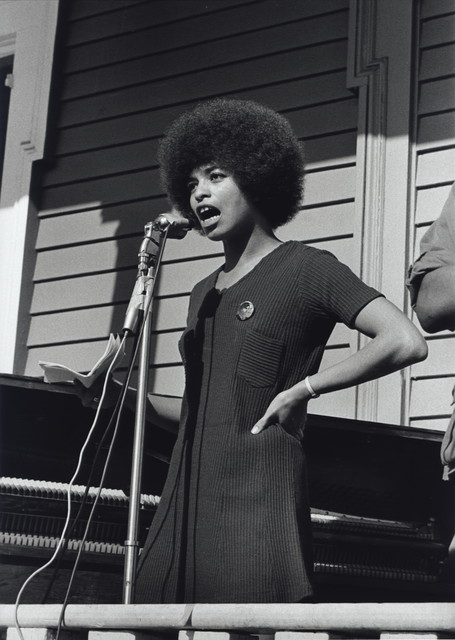 , 'Angela Davis, who was a Black Panther for six months, speaks at a Free Huey Rally in Defermery Park, Oakland, California,' November 12-1969, Steven Kasher Gallery