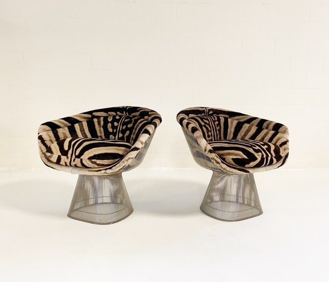 Warren Platner, 'Lounge Chairs, Restored in Zebra Hide', c. 1966, Forsyth