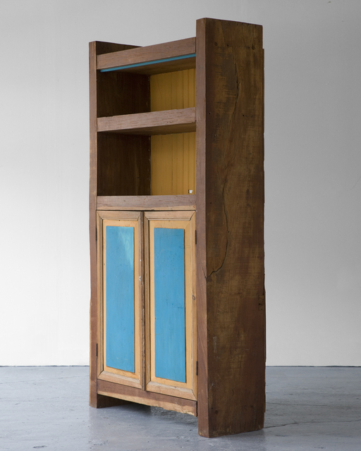 , 'Standing buffet in wood with painted doors and shelves in yellow and blue,' ca. 1970, R & Company