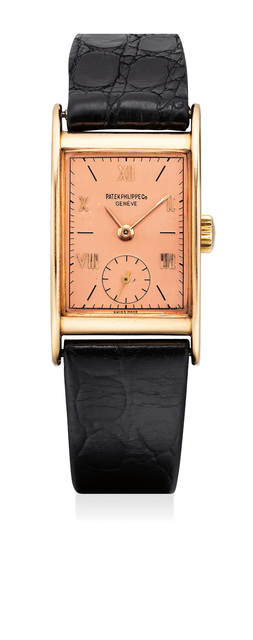 Patek Philippe, 'A fine and attractive pink gold rectangular wristwatch with rose-colored dial', 1945, Phillips
