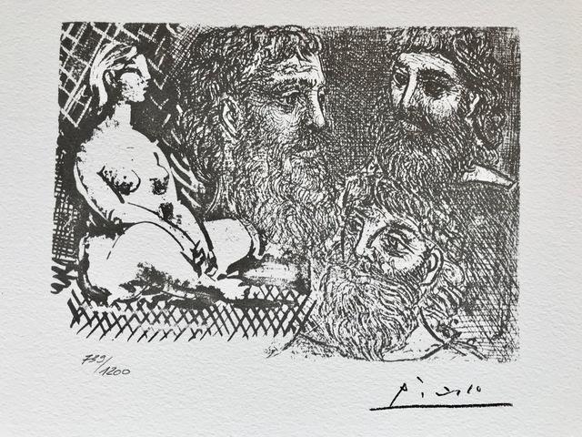Pablo Picasso, 'Femme nue assise et trois têtes barbues (Suite Vollard Planche XXV)', 1973, ByNewArt
