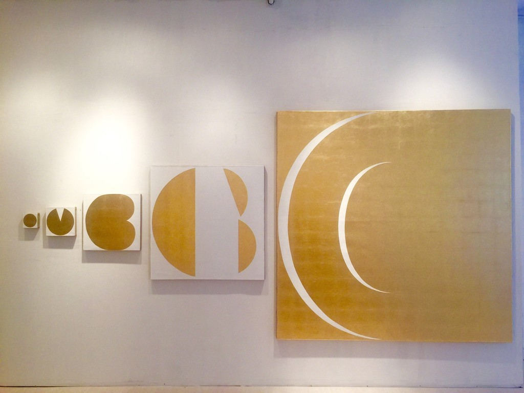 Cambio 2017 (Installation of five canvas, all gold leaf on linen)  from 10x10cm to 200x200cm