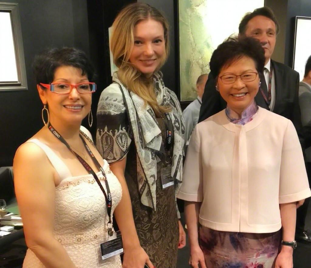 Liubov Belousova, Didier Marien, Gina Ardani and Mrs.Carrie Lam Chief Executive of Hong Kong at BOCCARA booth, Fine Art Asia Hong Kong