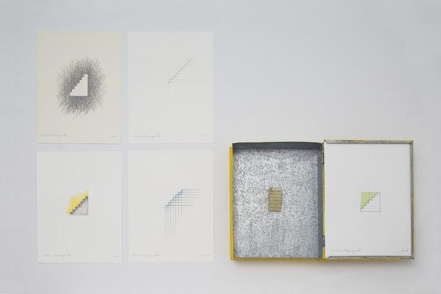 Tatsuo Kawaguchi, 'Beeswax Stairway inside a Book-shape Case ', 2015, Sculpture, Zinc plate, beewax, cadmium sulfide, paper, pencil, watercolour, SNOW Contemporary