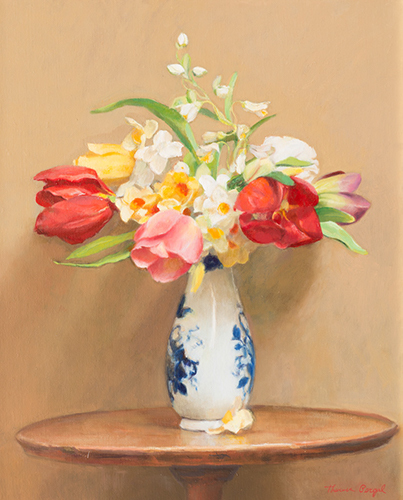 Theresa Pergal, 'Bouquet of Tulips in Deft Vase', 2015, Painting, Oil, The Guild of Boston Artists