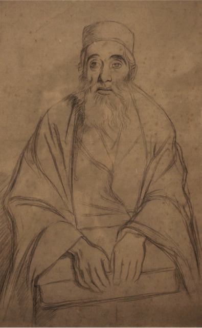 William Rothenstein, 'Seated Rabbi', 1905-1906, Drawing, Collage or other Work on Paper, Pencil on paper, Ben Uri Gallery and Museum
