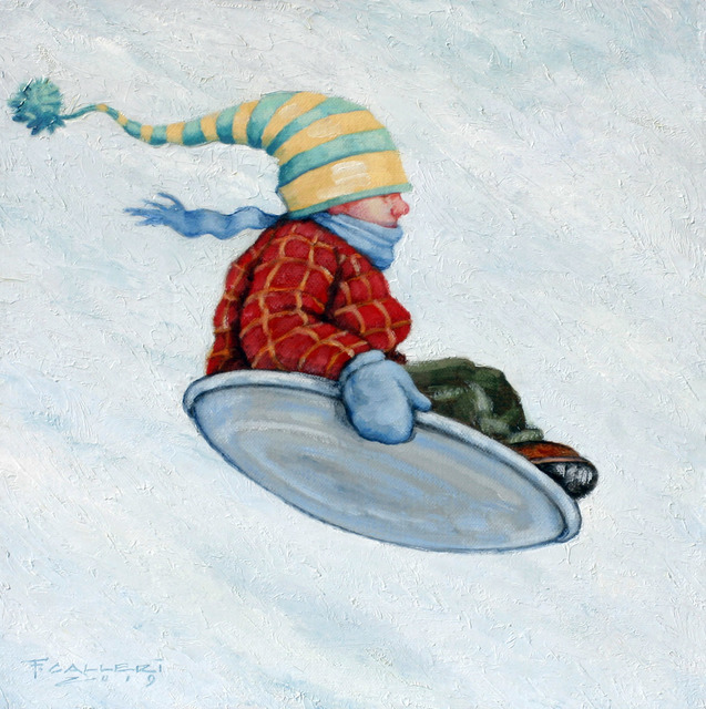 "Fred Calleri, '""Test Flight"" Oil painting of a child in a red jacket sledding ', 2019, Eisenhauer Gallery"