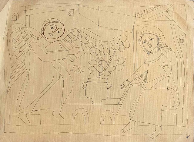 """, 'Angel with Woman, Drawing, Ink on paper by Padmashree Artist """"In Stock"""",' ca. Circa, Gallery Kolkata"""
