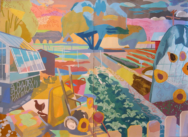 Justin Kim, 'The Garden, Deep Springs, CA', 2020, Painting, Mixed media on paper, Cade Tompkins Projects