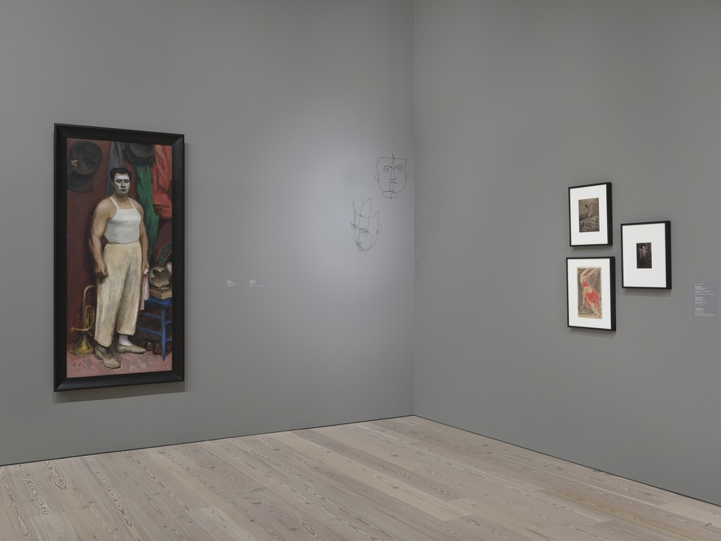 "Installation view of ""Human Interest: Portraits from the Whitney's Collection"" (April 27, 2016-Feb 12, 2017, Whitney Museum of American Art, N.Y.). From left to right: Walt Kuhn, ""Clown in His Dressing Room"", 50.1, Alexander Calder, ""Varese"", 80.25, Edward Steichen, ""Therese Duncan on the Acropolis"", 2012.243, Abraham Walkowitz, ""(Isadora Duncan)"", 57.56, James Van Der Zee, ""Dancer"", 2001.38"
