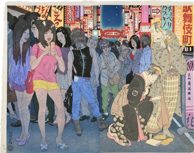 Paul Binnie, 'Pictorial Allusions, Reused Blocks: Kabukicho', 2020, Print, Woodblock diptych, Scholten Japanese Art