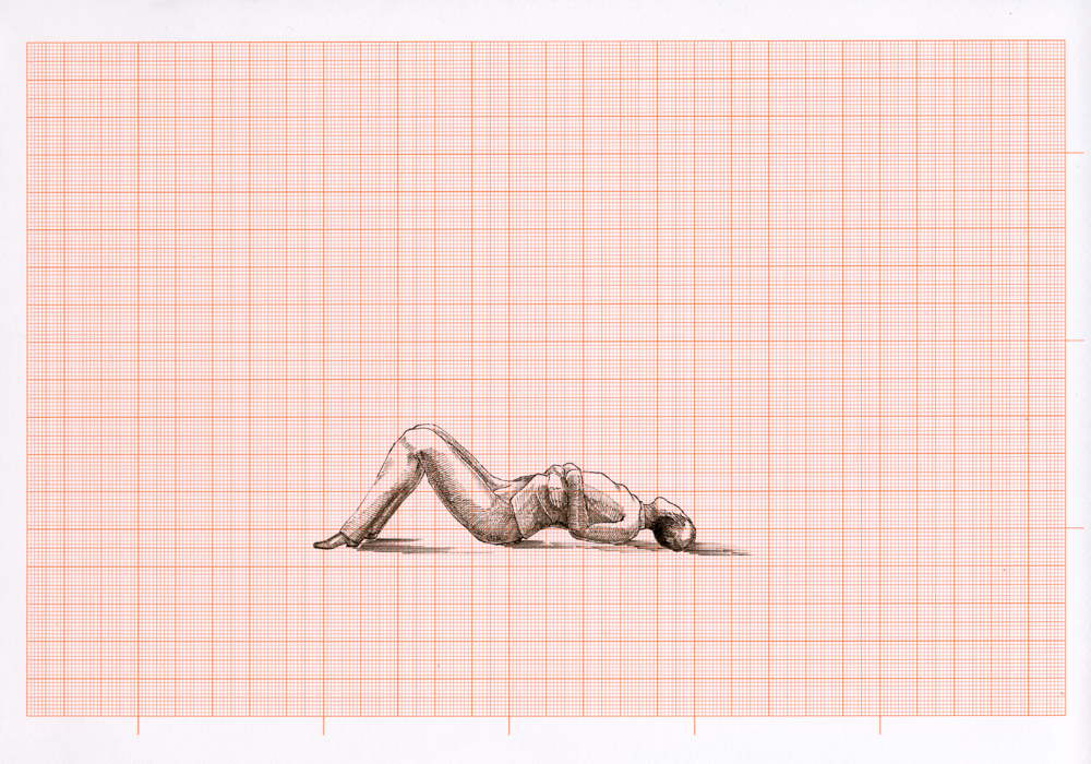 Flüchtig Hingemachte Männer, 2014, 68 of 75 pages, graph paper, indian ink, each 21 x 29,7 cm, exhibition view at Klemm's, Berlin 2014