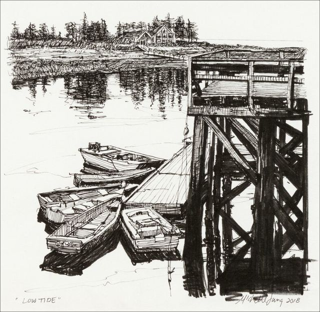 , 'Low Tide at Cape Harbor ~ Southport, ME,' 2018, The Guild of Boston Artists