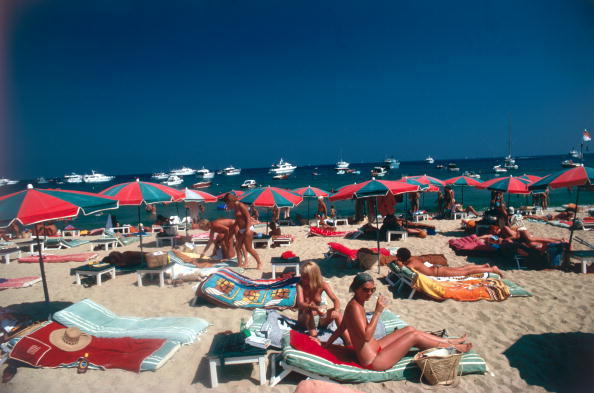 Slim Aarons, 'Beach At St. Tropez: Sunbathers on the beach at St. Tropez, France', 1977, Staley-Wise Gallery