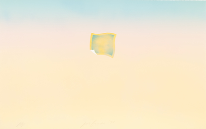 Untitled (small orange photo on peach and blue background)
