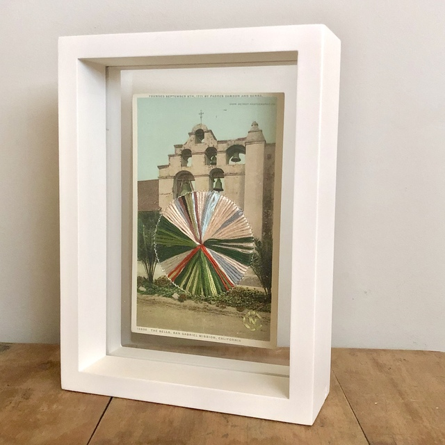 , 'The Bells - Embroidery on Vintage Postcard of San Gabriel Mission in California,' 2019, Gallery 1202