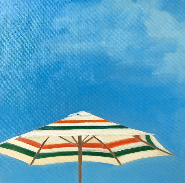 """T.S. Harris, '""""Picnic at the Shore"""" oil painting of an orange and green striped umbrella with blue sky', 2019, Eisenhauer Gallery"""