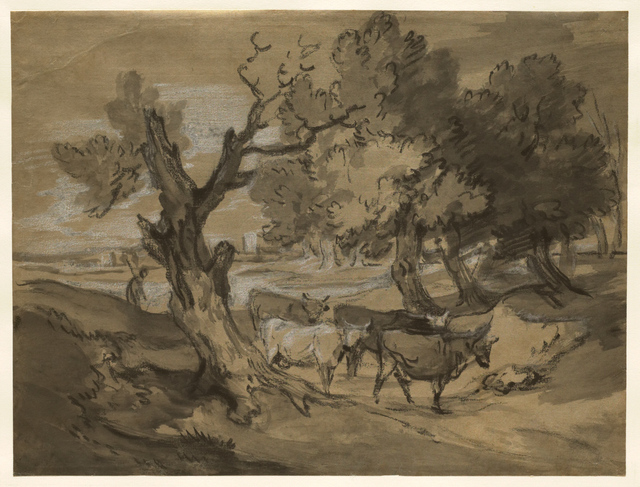 , 'Landscape with Herdsman Driving Cows and Distant Buildings,' mid to late 1780s, Clark Art Institute