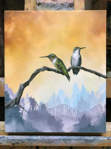 Brian Mashburn, 'Summer (Ruby-Throated Hummingbirds)', 2020, Painting, Oil on panel, Haven Gallery