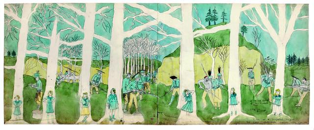 Henry Darger, 'Second battle of McAllister Run they are pursued', 1910-1970, Musée d'Art Moderne de la Ville de Paris