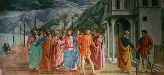 Masaccio, 'Jesus, Saint Peter and the tax collector (Matthew 17, 24-27) (Tribute Money),' 1426-1427, Art History 101