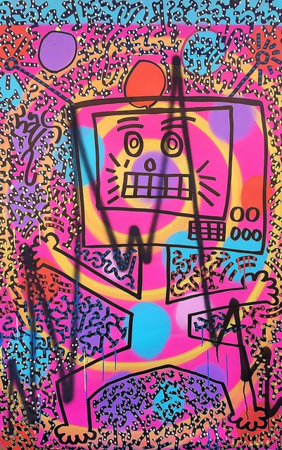 LA II (Angel Oritz), 'Wacky Robot', 2019, Painting, Spray paint and marker on canvas, Lawrence Fine Art