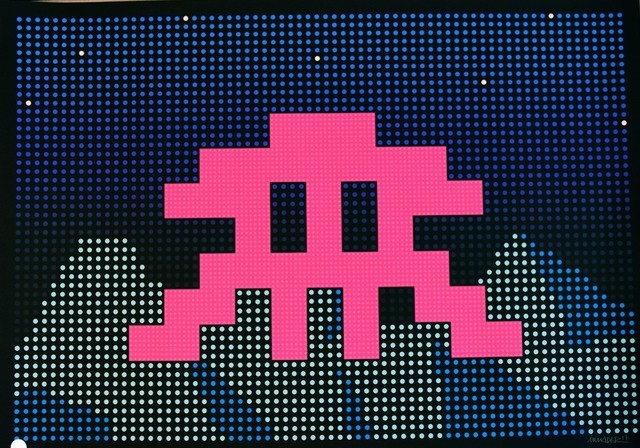 Invader, 'Space Invader LED Screen Print Lazarides Edition of 100 Street Art Urban Art ', 2017, Print, Hand Pulled Silkscreen Print with Vibrant Inks, New Union Gallery