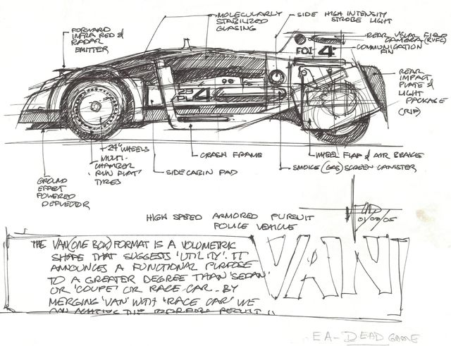 Syd Mead, 'Concept Sketch for High Speed Police Pursuit Vehicle with Notations', 2005, Edward Cella Art and Architecture