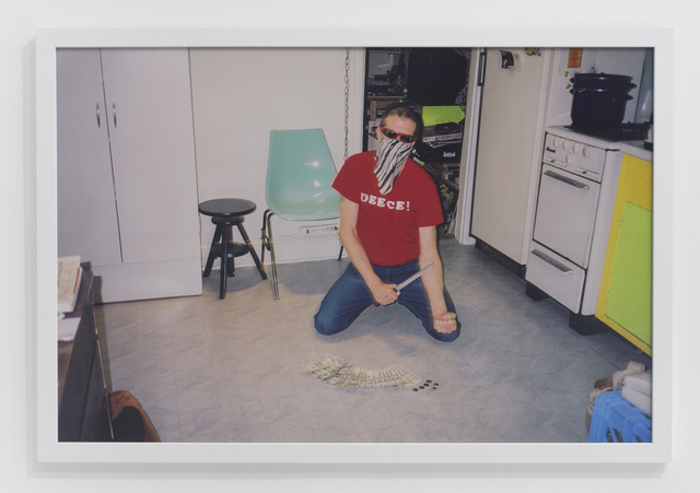 , 'In kitchen with kitchen knife on forearm,' 2003, The Hole