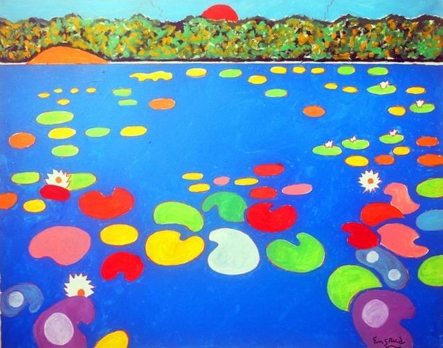 Wayne Ensrud, 'Serene Sunrise Over Waterlily Pond', 2021, Painting, Acrylic, Leviton Fine Art