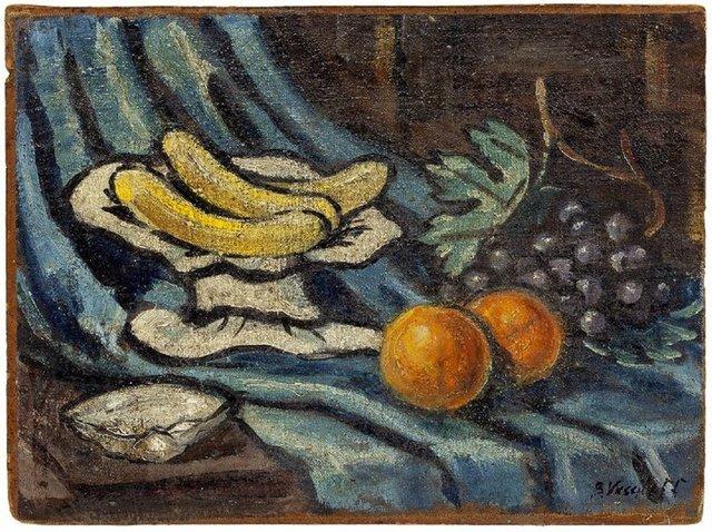 Boris Vassiloff, 'Still Life With Fruit Modernist Oil Painting', Mid-20th Century, Lions Gallery