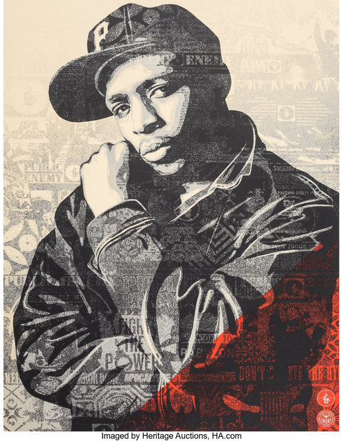 Shepard Fairey, 'Chuck D Black Steel Screenprint (Red)', 2018, Print, Screenprint in colors on cream speckled paper, Heritage Auctions