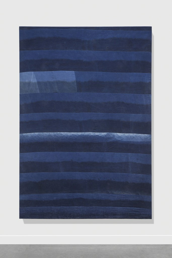 "installation view ""Untitled (indigo), 2017"", Indigo and black clay on linen, 190 x 130 cm / 74,8 x 51,2 in"